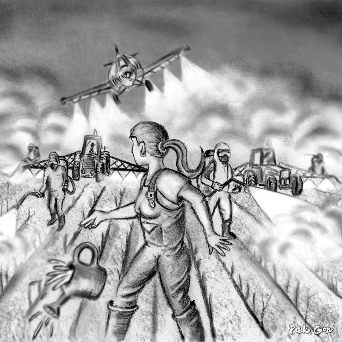 ilustración para Fanzine La Chimenea nº35, 2017 - carboncillo, conté, dibujo vectorial, retoque digital